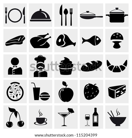 Food and Restaurant icons set. Vector EPS8