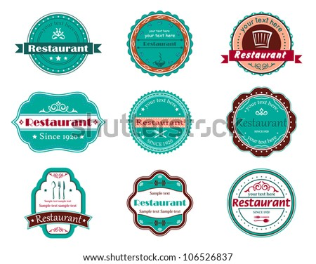 Food and restaurant labels set for design. Jpeg version also available in gallery