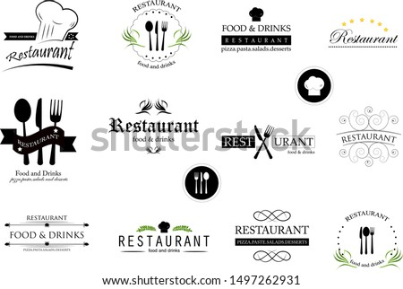 Food And Restaurant Logo Set - Isolated On White Background. Vector Illustration For Cook, Chef, Kitchen, Bar, Hat, Fork And Knife Logo. Restaurant And Food Logo For Bistro, Cook Elements And Labels