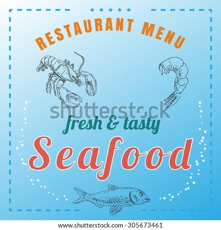Food and seafood menu, with shrimp, salmon and lobster or crayfish, in old etching vintage sketch hand drawn style, for restaurant and cafe business flyer, template and brochure design