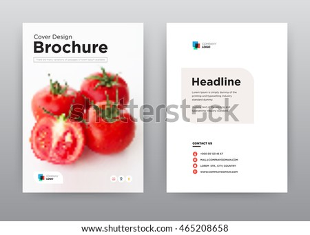 Food annual report brochure flyer design template vector, Leaflet cover presentation abstract flat background, layout in A4 size