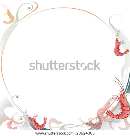 Food background with shrimps. Page template with circle shape . Scalable vector graphics.