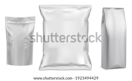 Food bag. White vector package. Food pouch foil pack. 3d sachet for snack product mockup design. Chaocolate Foil packet. Pillow bag for chips or cookie. Coffee bag, tea container