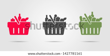Food basket from super market, set of three pictograms filled with different goods