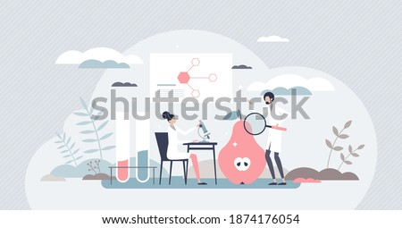 Food biology research with plant examination and analysis tiny person concept. Product testing under microscope to learn about its safety, healthy and inner chemical structure vector illustration. ストックフォト ©