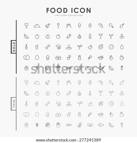 food bold and thin line icons