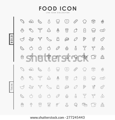 food bold and thin minimal line icons