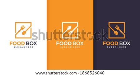Food box logo template with diferent shape style Premium Vector
