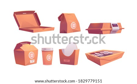 Food boxes, carton bags and cup, disposable takeaway paper packages for fastfood cafe meals sushi, rolls, pizza or french fries, coffee and drinks for take away. Cartoon vector illustration, icons set