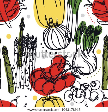 Stock Photo Food Collection Fresh vegetables Tomatoes, sweet pepper and asparagus Seamless pattern