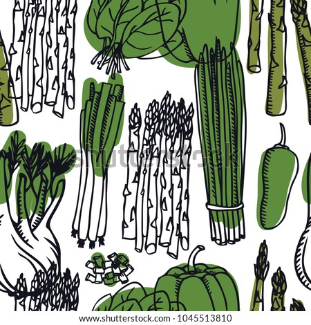 Stock Photo Food Collection Sweet pepper, asparagus, spring onion and spinach Seamless pattern