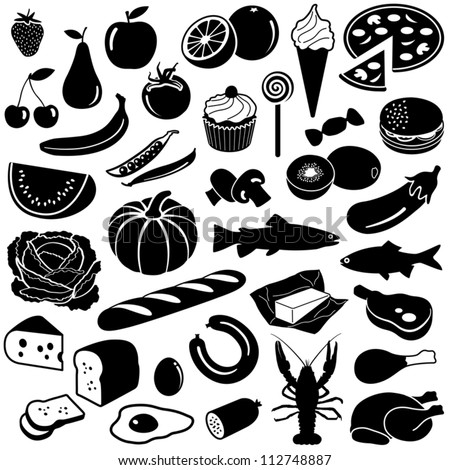 Food collection - vector silhouette