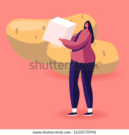 Food Contain Complex and Fast Carbohydrate Energy, Healthy and Unhealthy Products Concept. Young Woman Holding Cube of White Cane Sugar Stand near Huge Potato Tubers. Cartoon Flat Vector Illustration