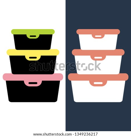 Food container icon in flat style. Plastic box-container for food. Vector