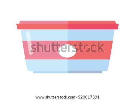 Food container with label vector. Flat style. Sealed plastic tray or bowl with lid. Packaging for dairy, confectionery, products. For nutrition concepts, food production ad. Isolated on white