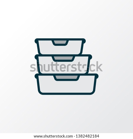 Food containers icon colored line symbol. Premium quality isolated storage element in trendy style.