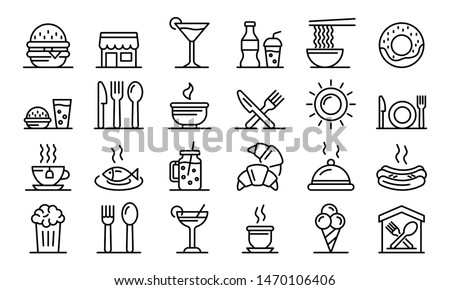 Food courts icons set. Outline set of food courts vector icons for web design isolated on white background