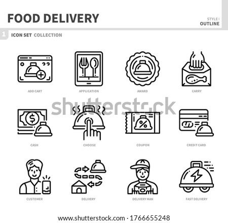 food delivery icon set,outline style,vector and illustration Stock photo ©