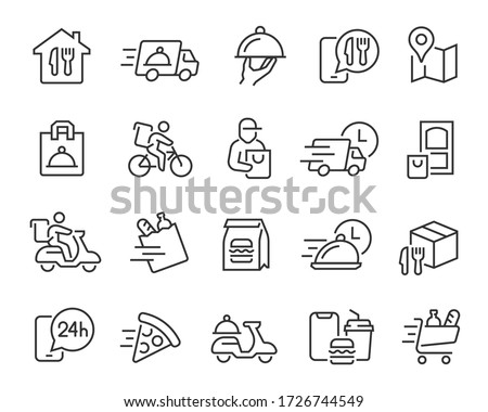 Food Delivery icons set. Collection of linear simple web icons such as fast delivery, courier, home delivery, courier on a scooter and bicycle, box and bag of food, and more. Editable vector move.