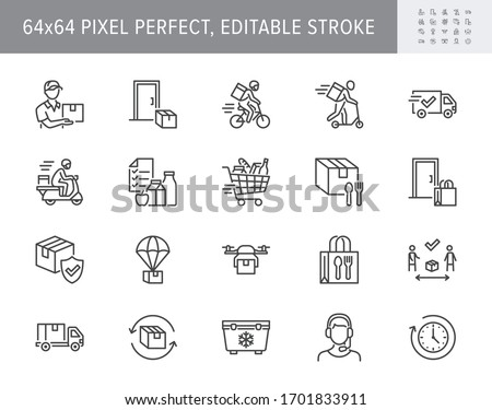 Food delivery line icons. Vector illustration included icon as coutier on bike, door contactless delivering, grocery list outline pictogram for fast distribution. 64x64 Pixel Perfect Editable Stroke.