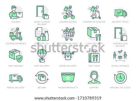 Food delivery line icons. Vector illustration included icon as coutier on bike, door contactless delivering, grocery list outline pictogram for fast distribution. Green Color, Editable Stroke Сток-фото ©