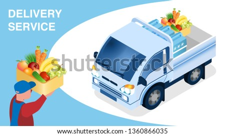 Food Delivery Logistics Isometric Banner Template. Male Courier Holding Box with Vegetables Cartoon Character. 3d Truck Loaded with Cool-Boxes, Fruits. Transportation Service Advert Layout