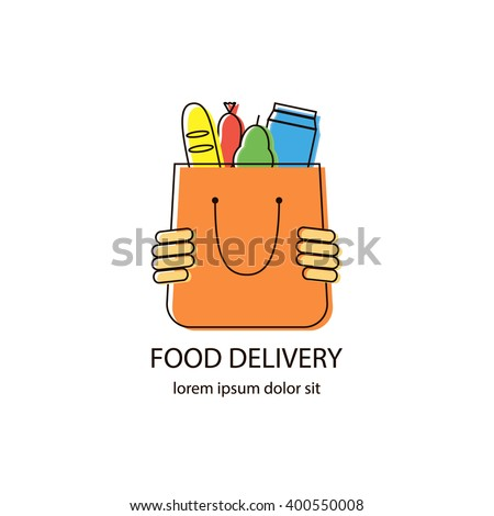 Food delivery logo. Grocery shopping logotype design vector template in linear style. Human hands holding bag with grocery