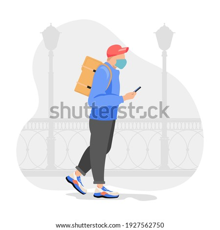 Food delivery man with orange backpack behind back is on his way to deliver food. Courier delivering food. Vector illustration.