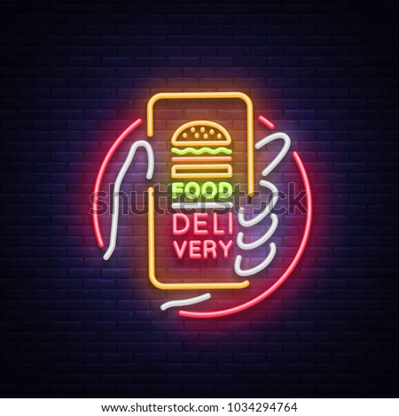 food delivery neon sign