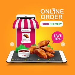 Food Delivery Online Order on Website or Mobile Application Vector Concept Marketing and Digital marketing.