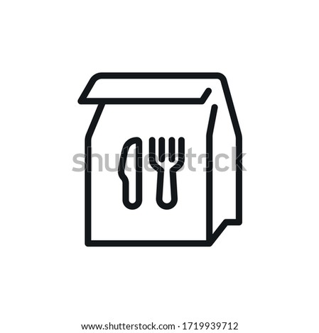 Food delivery paper bag outline icon, linear sign for fast food - vector