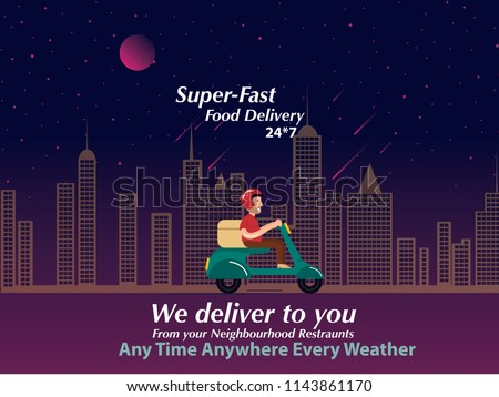 Food Delivery poster design.Guy delivering food at night.Super fast food delivery at night.Food at your doorsteps at any time concept design.