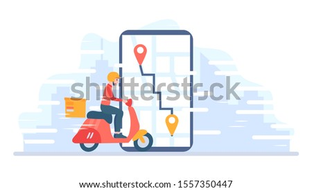 Food delivery service. Man riding a red retro scooter, motorcycle. Online pizza order. A courier guy on a moped  with trunk case box carries a parcel. Concept vector illustration in cartoon flat style