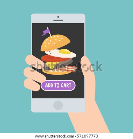 Food delivery service. Mobile application / flat editable vector illustration, clip art