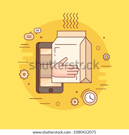 Food delivery service. Thin line colorful flat design vector illustration concept for delivery of prepared meal from restaurant. Online ordering of food. Isolated on bright background