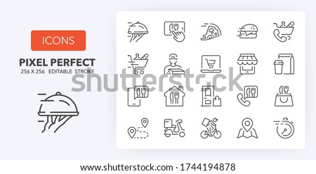 Food delivery thin line icon set. Outline symbol collection. Editable vector stroke. 256x256 Pixel Perfect scalable to 128px, 64px...