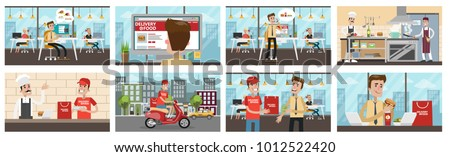 Food delivery to office set. Businessman ordering food, chef preparing and courier delivering.