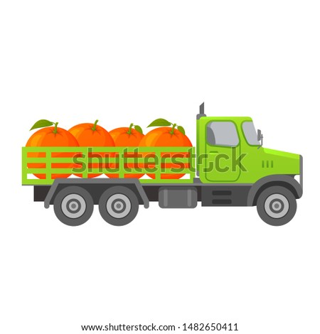 Food delivery truck fruits.Ripe oranges.Ripe tropical citrus fruit.