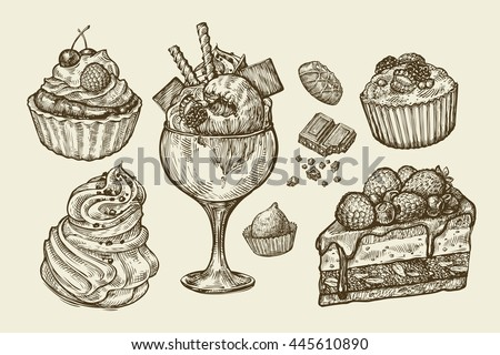 Food, dessert. Hand drawn ice cream, meringue, cupcake, chocolate, piece of cake, pastry, candy, muffin. Sketch vector illustration