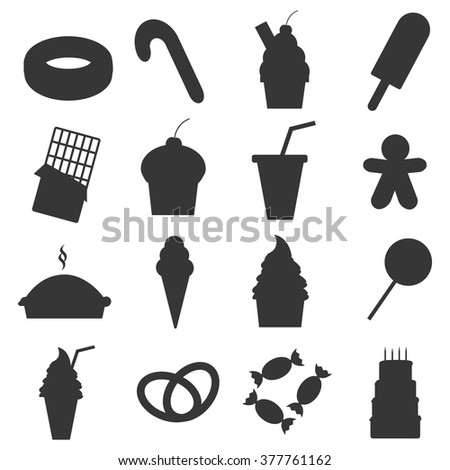 food dessert icons set cupcake