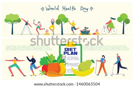 Food, diet, healthy lifestyle and weight loss banner with a dish of salad, table set, sport people and diet plan on a notebook