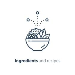 Food dish recipe, nutrition concept, salad ingredients, vector mono line icon
