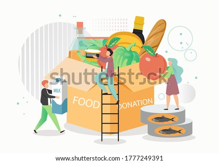 Food donation box, vector flat illustration. Volunteers tiny male and female characters boxing groceries for homeless and poor people. Humanitarian aid, food drive, donation and charity, volunteering.