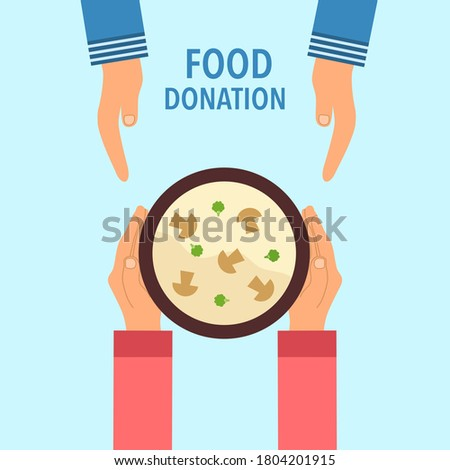 Food donation concept vector illustration on blue background. Woman sharing mushroom soup to people in flat design. Time for charity. Photo stock ©