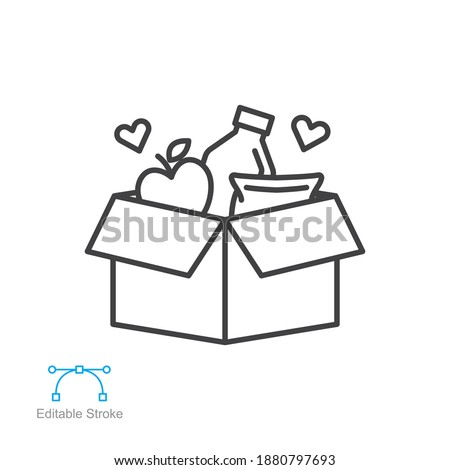 Food donations linear icon, pantry, food bank meal charity line collection logo Box with love. humanitarian volunteer activity. Editable stroke vector illustration design on white background EPS 10