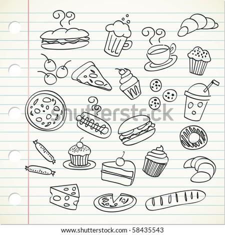 food doodle - stock vector