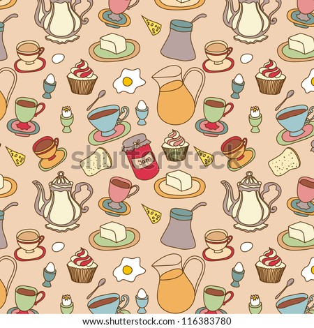 Food doodle seamless pattern hand drawn