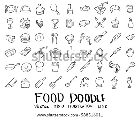 food doodle vector drawing set