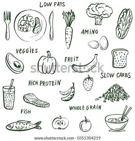 Food drawings and healthy eating words  background. #1051304219