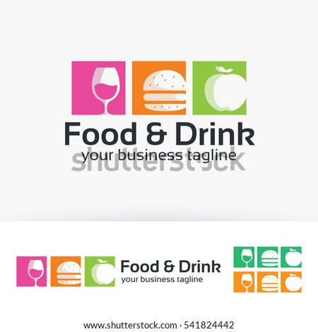 Food & Drink, fast food, fruit, wine. Vector logo template